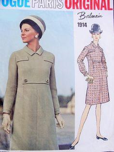 1960s Balmain Mod Slim Dress Pattern Vogue Paris Original 1914 Vintage Sewing Pattern High Waist, Seam Interest Dress Bust 34 Sew In Label