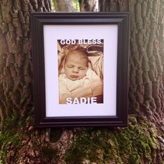 Personalized Baptism Gift Frame with Custom Matting by WoodBeeLove