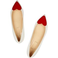 Red heart toe box with white Corafront patent-leather point-toe flats ($670)