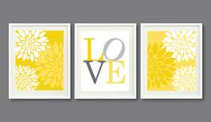 Three Print Set-Flowers-LOVE-Kids Room, Nursery, Home Decor-8x10-Mustard Yellow, Grey/Gray OR Choose Colors-Trio-3-Dorm, Teen, Abstract on Etsy, $42.00