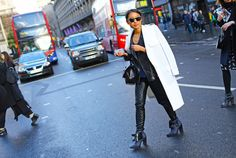 The Piper boot complete's Margaret Zhang's leather look at London Fashion Week - via Vogue.com
