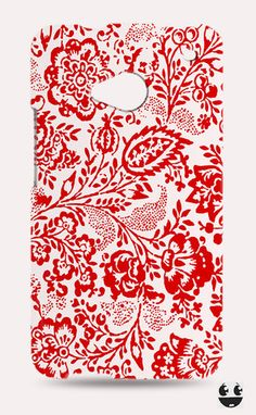 HTC One Phone Case, HTC One Case Red Floral