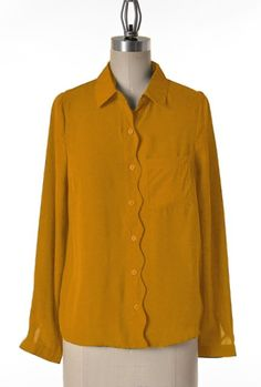 Scallops https://sincerelysweetboutique.com/shop-collections/sweet-scallops.html - #scallop #sweet-scallops #scallops - mustard yellow Scallop Trim Long Sleeve Blouse