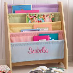 Such a cute personalized bookshelf for a little girl's room!