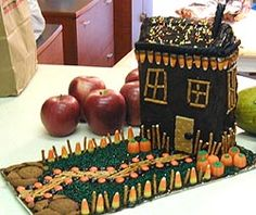 Halloween crafts for kids - Edible Haunted House Halloween Crafts For Kids, Halloween Cakes, Halloween Projects, Easy Crafts For Kids, Halloween Treats, Halloween Costumes, Haunted House Cake, Halloween Haunted Houses, Halloween House