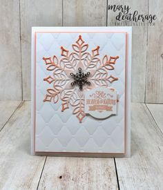 Pretty in pink on tufted embossed bkgrd Christmas Paper Crafts, Christmas Cards To Make, 1st Christmas, Christmas Wishes, Snowflake Cards, Snowflakes, Christmas Catalogs, Stamping Up Cards, Winter Cards