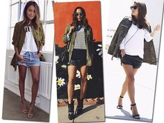 A combinação com saia ou short é ótima para temperaturas amenas (Foto: Reprodução Sincerely Jules, Song of Style e Jessiekass)
