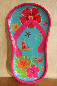 Flip Flop, Hibiscus Flower Plate,Tray, Dish,Luau Party, Tiki Bar, Tropical,Beach