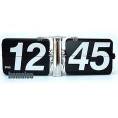 Retro Modern GIANT Big Number Auto Flip Wall Clock Black