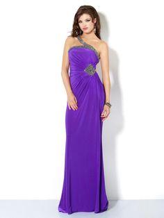 Purple Column One Shoulder Floor Length Zipper Sweep Train Beaded Evening Dress