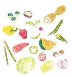 horinarumi: 【Work】mook本イラストカット3 / 『野菜は火の力でおいしくなる かんたん たっぷり 野菜料理』編/東京ガス「食」情報センター 小学館発行