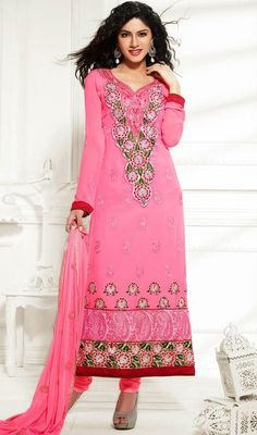 Appear stunningly pleasing in this rose pink faux georgette salwar kameez. The incredible dress creates a dramatic canvas with incredible butta work, floral patch, lace, patch work, resham and stones work. Churidar Suits, Salwar Kameez, Patiala, Floral Patches, Classic Wardrobe, Dress Collection, Pink Roses, Georgette Dresses, Stones