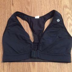 ✨Lululemon✨Sports bra 34D✨front closure See thru back. Worn twice. Great sports bra. Front closure. 34 D black can be worn for sports or for a regular bra. lululemon athletica Intimates & Sleepwear Bras