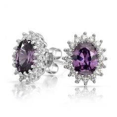 Measure: 12 mm L x 10 mm W Weight: 2.7 gram Material: .925 Sterling Silver, Rhodium Plating, Cubic Zirconia