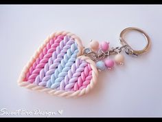 ▶ Porta chiavi in fimo effetto maglia - Key holder heart knit effect - YouTube