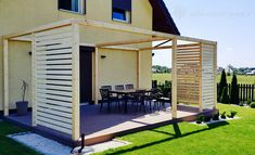 Modern buildings with terrace / Carpentry shop Poznań Although early with concept, this pergola has Modern Backyard, Backyard Patio, Backyard Landscaping, Patio Set Up, Back Patio, Outdoor Rooms, Outdoor Decor, Gazebo Pergola, Modern Farmhouse Exterior