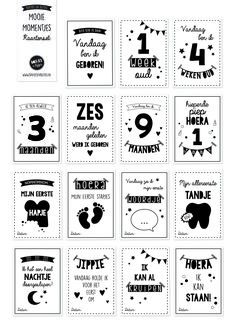 Leg de mooie momentjes van jouw kindje vast met Boefjes en Bijtjes' Mooie Momentjes Kaartenset / Mijlpaal kaarten. Ook erg leuk als cadeautje! €14,95!! Doodle Quotes, Baby Silhouette, Hand Lettering Alphabet, Baby Scrapbook, Baby Time, Baby Cards, Little Babies, Beautiful Babies, Kids And Parenting