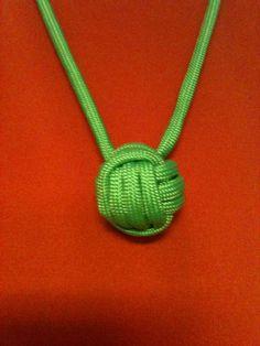 Paracord monkeys fist necklace