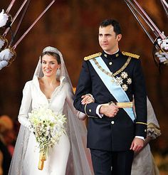 Crown Prince Felipe of Asturias and Letizia Ortiz Rocasolano  May 22, 2004  With Britain's Prince Charles, Japan's Crown Prince Naruhito, and Nelson Mandela in attendance, Asturias, Spain's Crown Prince wed CNN anchorwoman Letizia Ortiz Roscasolano in a rain-soaked ceremony in Madrid, making her the first commoner ever to be in line to the Spanish throne. The wedding was followed by a reception at which a 2-meter-tall cake was served alongside flutes containing more than 1,000 bottles of…