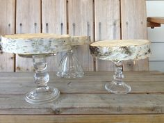 for cake and cupcakes!! 3 White Birch Wood Stands - Candle Holder, Cupcake Stand, Wedding or Home Decor. $32.00, via Etsy.