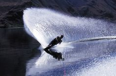 Waterskiing rocks at the lake.  Look at that beautiful rooster tail!!