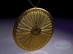 3D printed Arachnoidiscus ehrenbergi diatom pendant in polished bronze