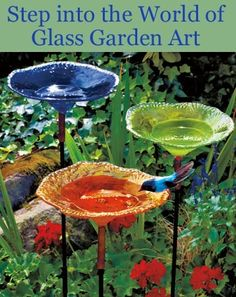 I may have to start looking for glassware so I can make some DIY garden totems/bird baths. Great way to add color in a shady yard where flowers won't grow. Yard Art, Garden Inspiration, Glass Garden Art, Garden Projects, Garden Totems, Garden Crafts, Outdoor, Outdoor Gardens, Bird Bath