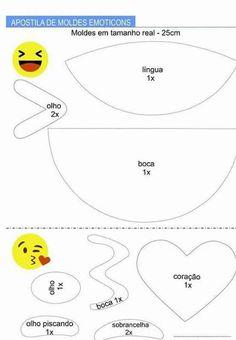 Apostila de Moldes de Emoticons  - Como Fazer Emoji Templates, Templates Printable Free, Felt Crafts, Diy And Crafts, Paper Crafts, Emoji Theme Party, Emoji Costume, Preschool Painting, Emoji Coloring Pages