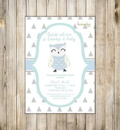OWL BABY SHOWER Invitation Baby Boy Sprinkle by LavenderArte
