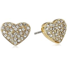 """T Tahari """"Essentials"""" Gold Heart with Assorted Crystals Stud Earrings ($12) ❤ liked on Polyvore featuring jewelry, earrings, gold stud earring sets, gold heart earrings, heart jewelry, heart shaped earrings and yellow gold jewelry"""
