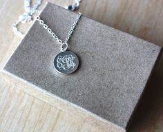 Engraved Monogram Necklace  Small Silver by FrederickEngraving, $14.50