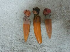 """3 VINTAGE ANRI Carved Wood Bookmarks (2) 3.5"""" & Letter Opener 4"""" 