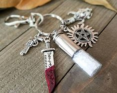 Supernatural keys - supernatural keychain - supernatural gifts - supernatural charm - supernatural amulet - bullet keychain - supernatural