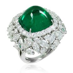 Blue River Emerald and Diamond Ring