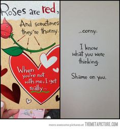 Lol this is the same card Blake got for me on our first Valentines Day :)