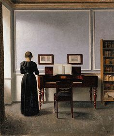 Interior. Living Room with Piano and Woman Dressed in Black - Vilhelm Hammershoi