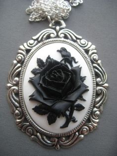 black rose jewelry | Black Rose Cameo Necklace - Gothic Jewelry