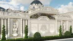 Classical luxurious exterior House Arch Design, House Outside Design, Villa Design, Design Exterior, Facade Design, Interior Exterior, Mansion Interior, Classic House Design, Dream Home Design
