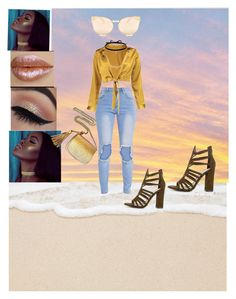 """✨ITS SOLID GOLD BABY!✨"" by sydneypete ❤ liked on Polyvore featuring Boohoo, Joomi Lim, Gucci, Quay, gold and trends"