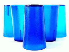 Set of six vintage Texan cobalt blue pebbled tumlbers hold 12 ounces of your favorite cold beverage. We purchased these when our children were small and they went with our youngest to graduate school. Now she is out and found something she liked better :)  The cups are 5 1/8 inches (13 cm) tall and 3 inches (7.5 cm) across the top. They are in very good condition, no cracks or chips, just some scratches/scuffing.  Texan - made in Dallas, TX, made in USA.  Check here for more dishes…