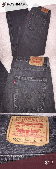 """Levi's 550 Relaxed Fit Faded Black Jeans Tag size 18 Reg 29x29  99% cotton 1% elastane.  Faded Black wash.  Measurements Laid Flat: Waist 15""""; Rise 10.5""""; Inseam 29.5"""" Levi's Bottoms Jeans"""