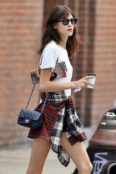 Alexa Chung Plaid Shirt Grunge Chanel Bag