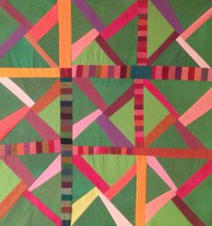 Kim Koloski/Improv pieced quilt top/ Hand dyes, commercial solids and prints.