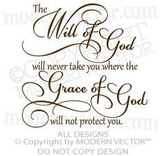 The Will of God Grace of God Quote Vinyl Wall Decal Inspirational Religious ♥ | eBay