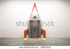 Success concept with open door of rocket elevator. 3D Render
