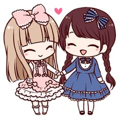 Girls of Lolita fashion such as the doll. The angry and laughing, crying, can be used in various situations stamp of two expressive. Best Friend Drawings, Bff Drawings, Chibi Couple, Anime Love Couple, Cute Anime Chibi, Kawaii Anime, Kawaii Cute, Kawaii Girl, Friends Sketch