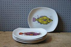 Vintage Aquarius Fish Plates