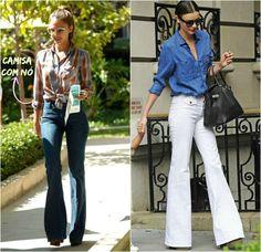 como usar calça jeans cintura alta flare 5