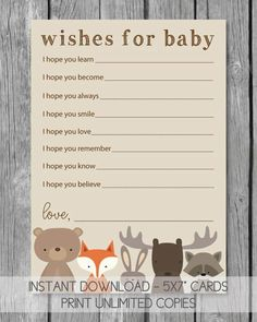 Woodland Animals Printable Well Wishes For Baby Cards Baby Shower Candy, Baby Shower Prizes, Shower Bebe, Baby Shower Games, Shower Party, Shower Gifts, Shower Favors, Baby Shower Advice, Baby Girl Shower Themes