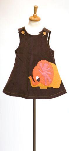 Brown A-Line Dress with Autumn Elephant Felt Applique | decafplush